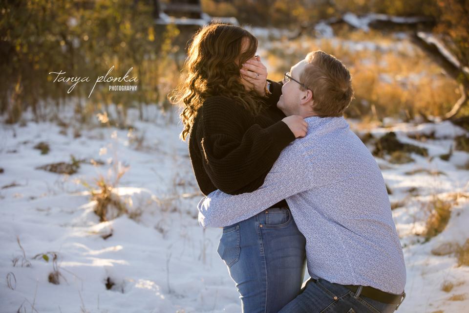 double proposal engagement photos in Lethbridge