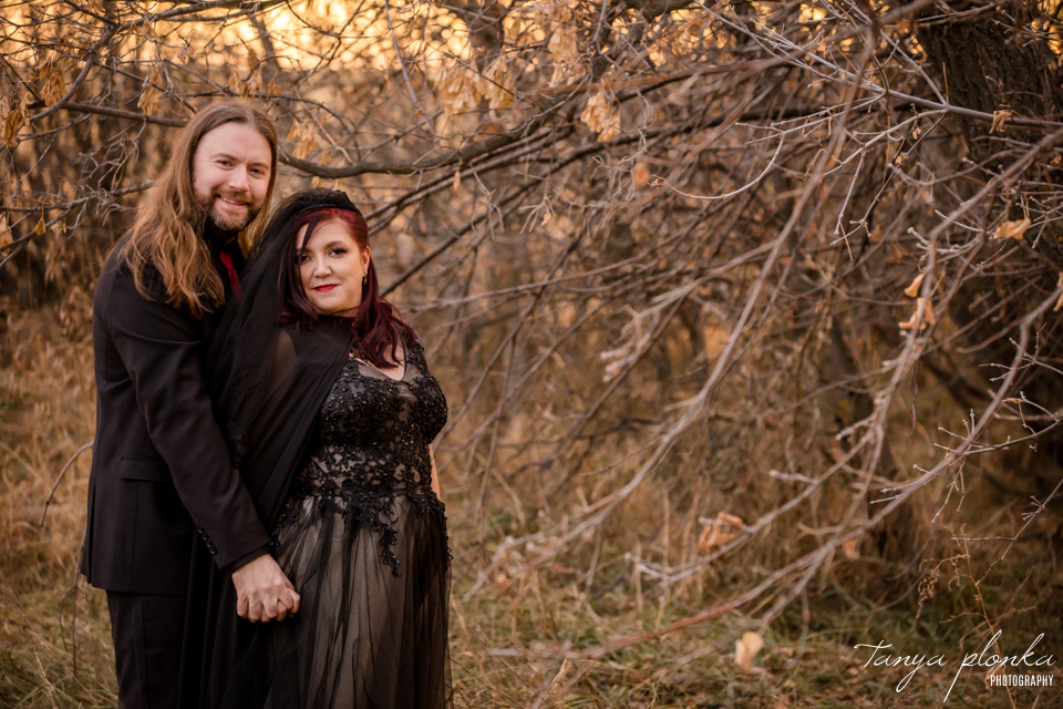 Jessica & Dustin, Halloween sunset wedding