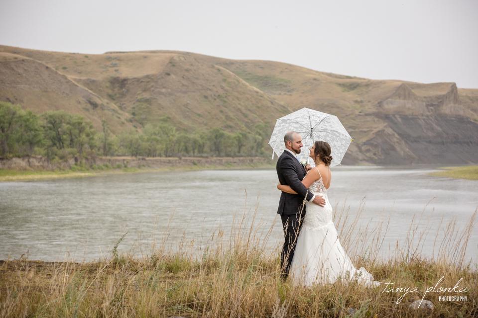 Haley & Ryan, private farm wedding ceremony in Lethbridge