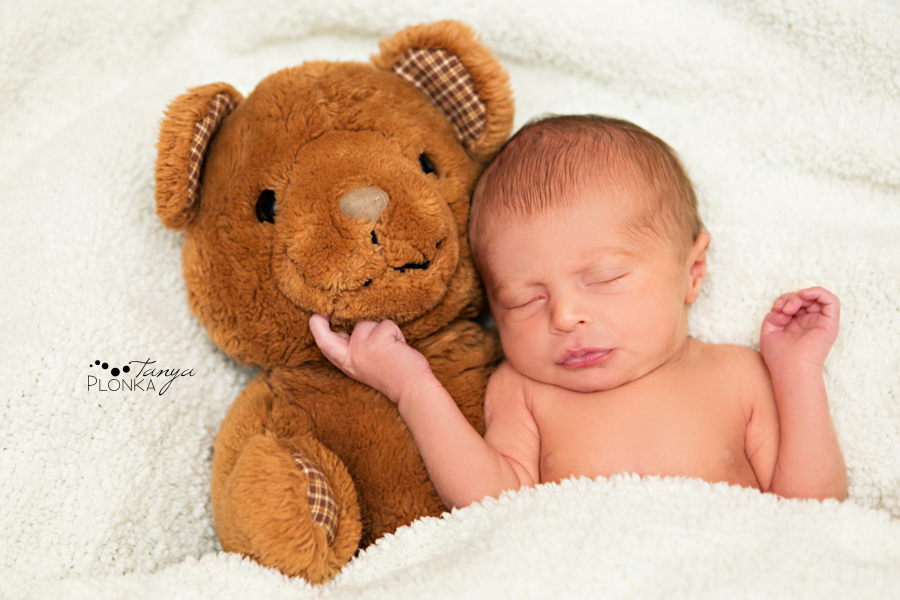 natural Lethbridge baby photo with teddy bear