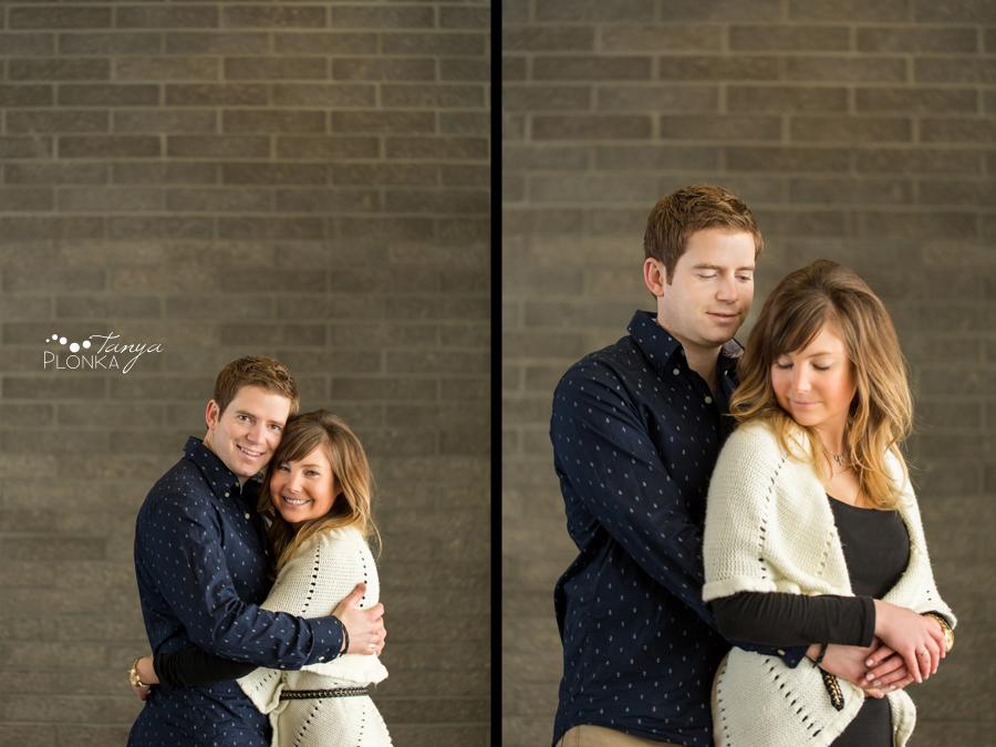 Engaged couple hugging in Lethbridge