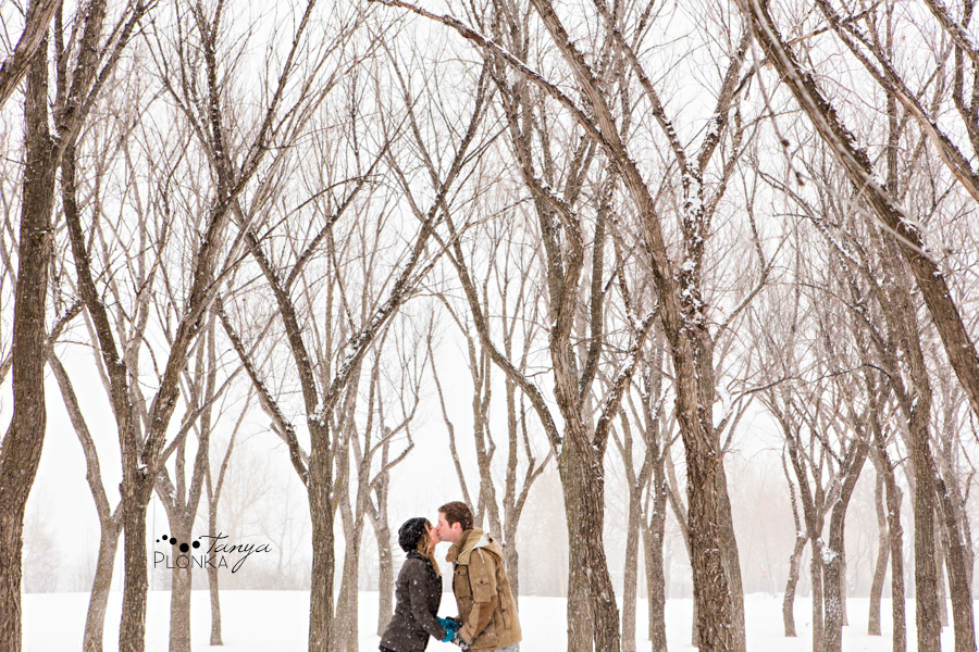 Snowy winter Lethbridge engagement photography