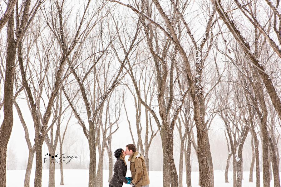 Snowy winter Lethbridge engagement photography