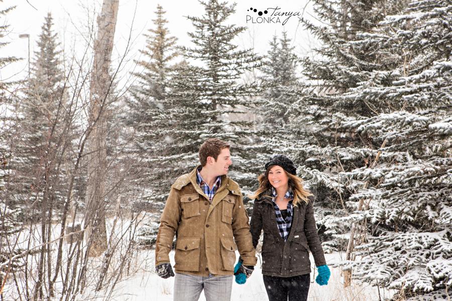 Snowy winter Lethbridge engagement photos