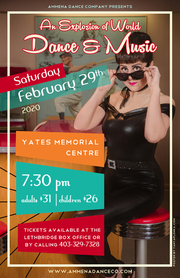 Ammena Dance Company vintage 50s themed dance show poster