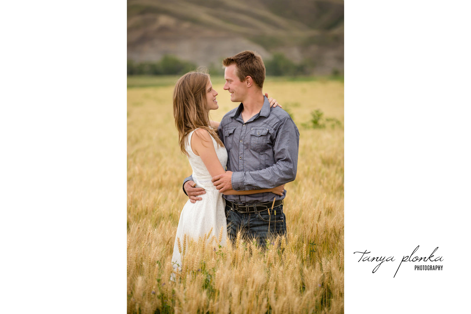 couple embrace in golden wheat field