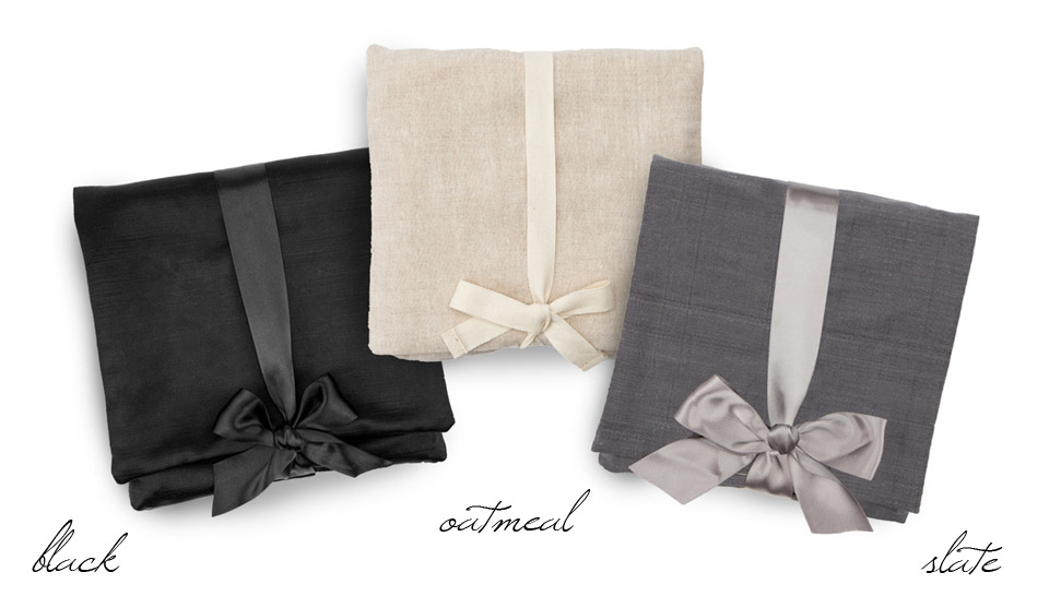 fabric album bags in black, slate, and oatmeal