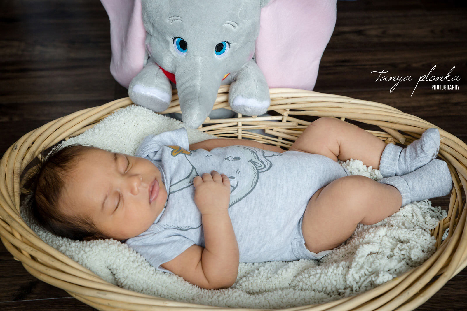 baby sleeps in wicker basket while stuffed Dumbo toy leans on far edge of basket