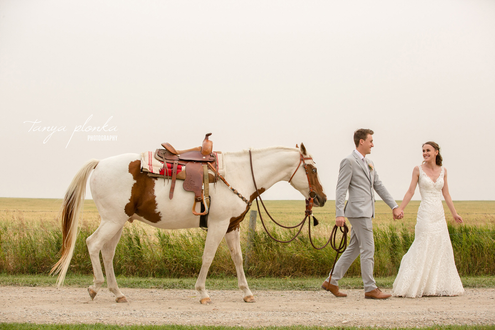 Bride and groom walk while holding hands and leading a horse on a dirt road