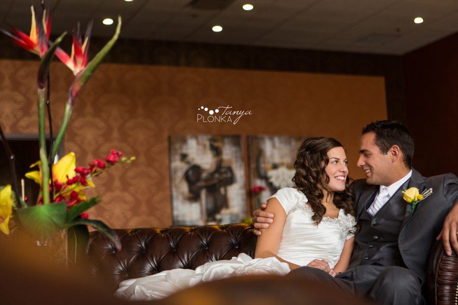 bride and groom portrait at Lethbridge Coast Hotel