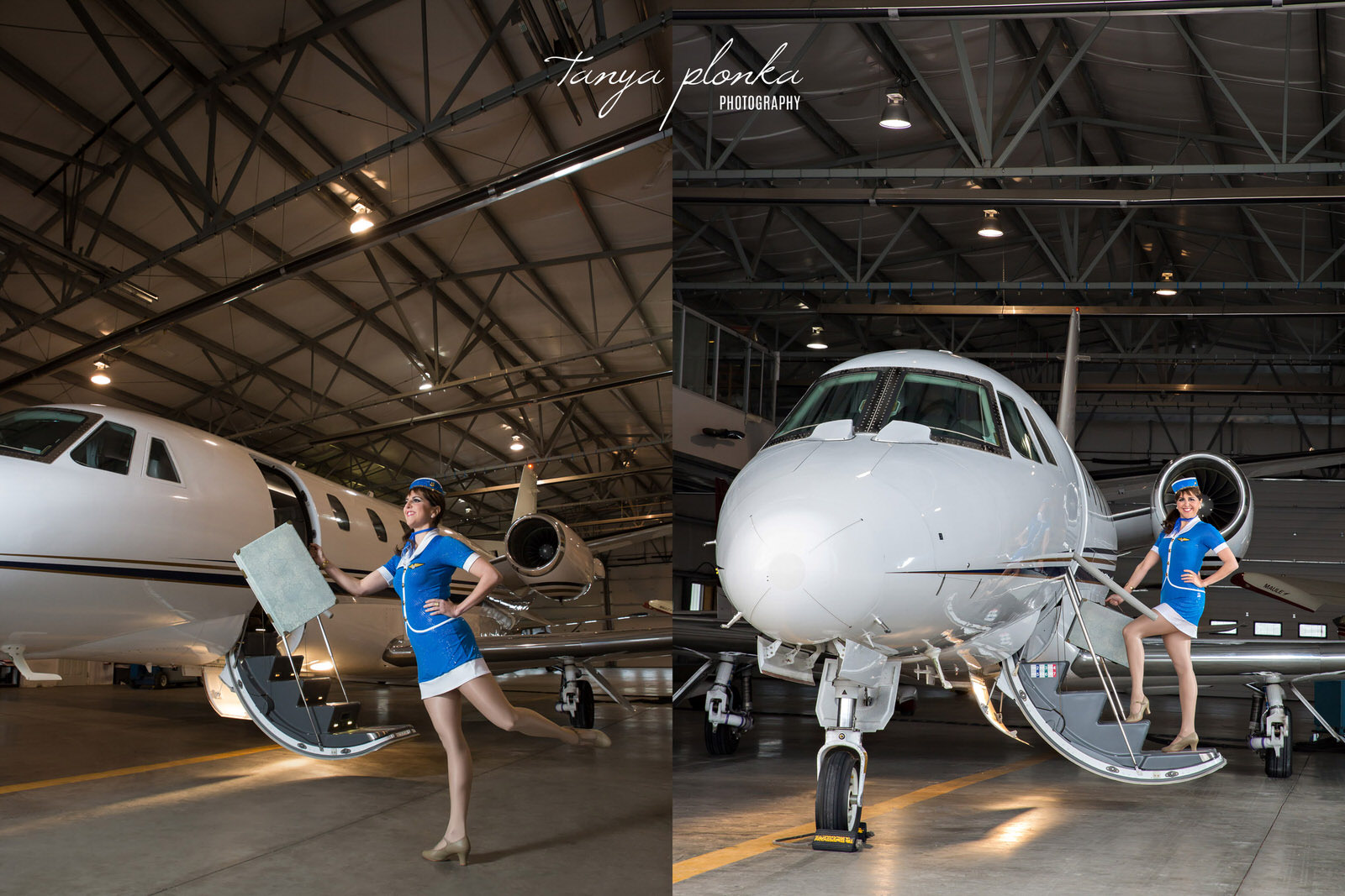 woman dressed as cute flight attendant poses with airplane in a Lethbridge Airport hangar