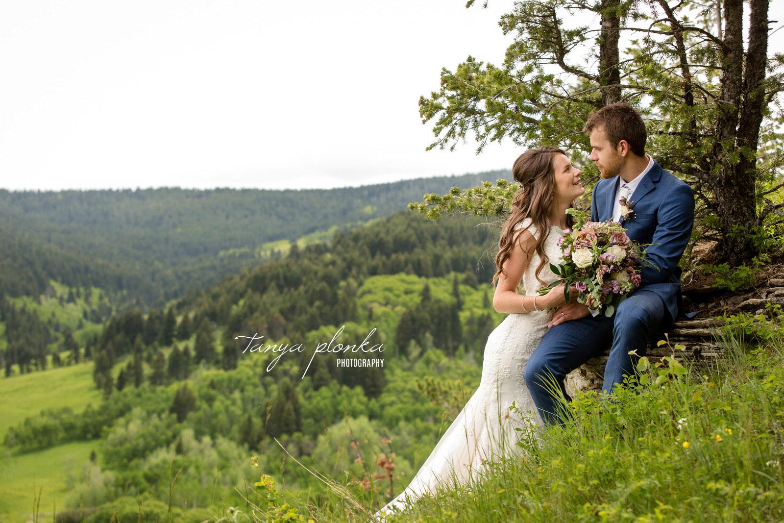 Foothills scenic view wedding couple