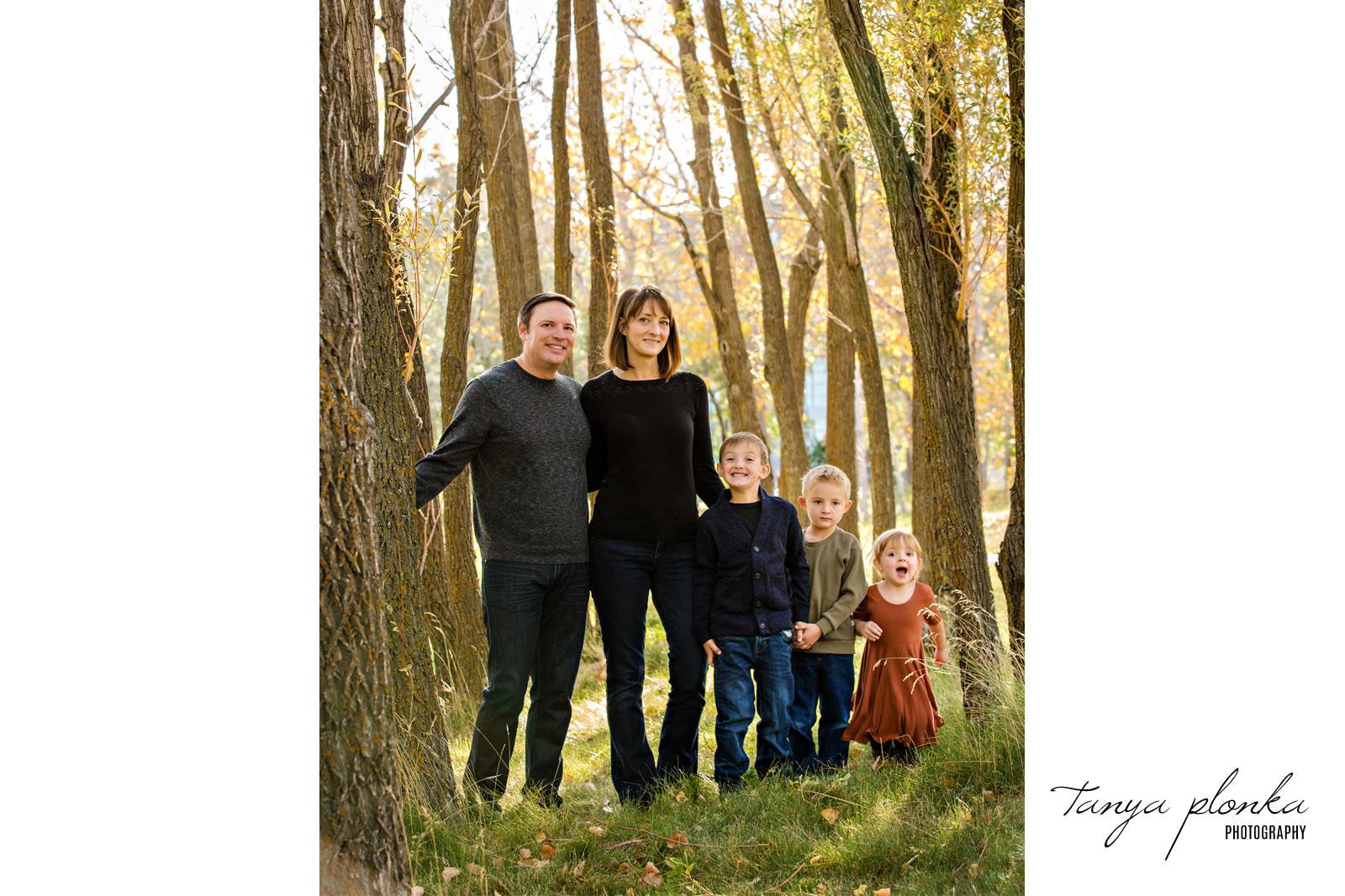 Lethbridge family in autumn trees