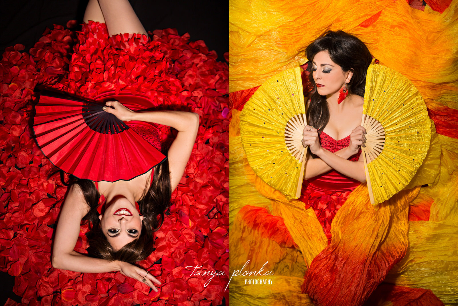 two images of woman laying in pile of rose petal and in yellow silks