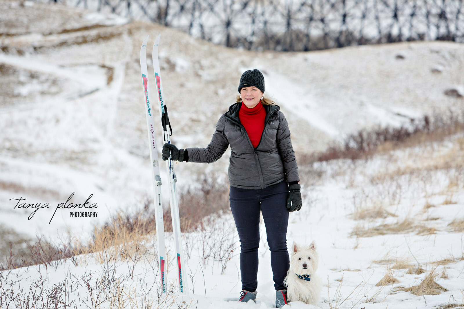 woman with small white dog stands at edge of snowy coulees in Lethbridge holding cross country skis