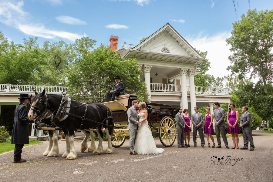 wedding party with horse carriage at the Norland Bed and Breakfast in Lethbridge
