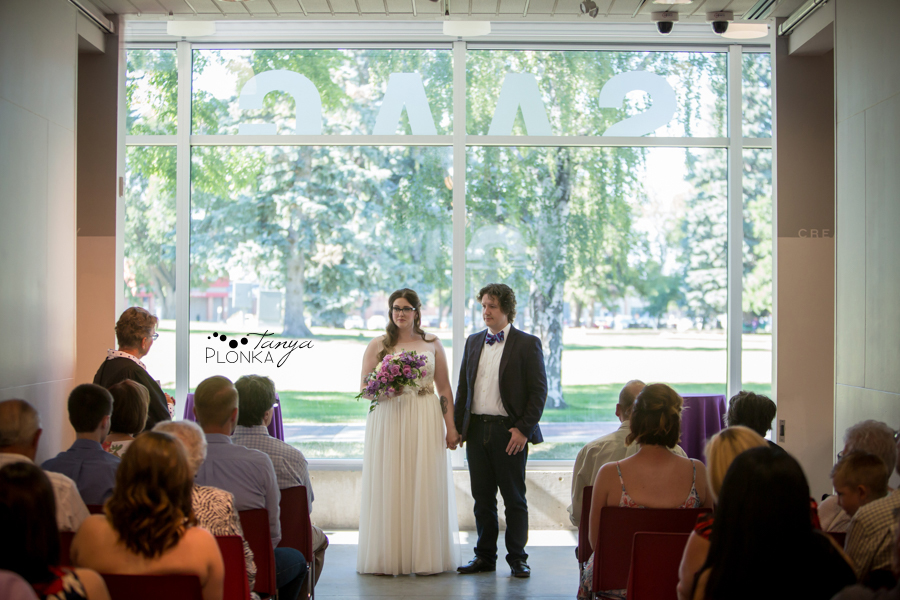indoor wedding ceremony at Southern Alberta Art Gallery in Lethbridge