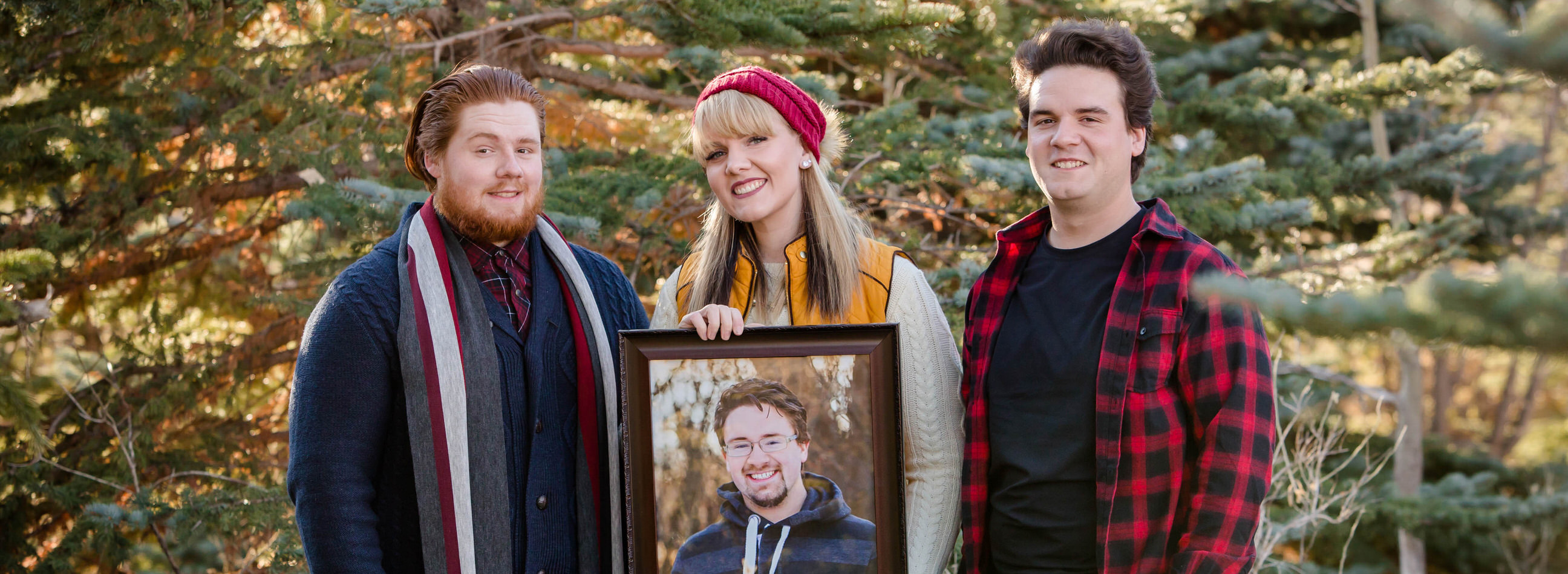 Alyssa testimonial, siblings with memorial to brother