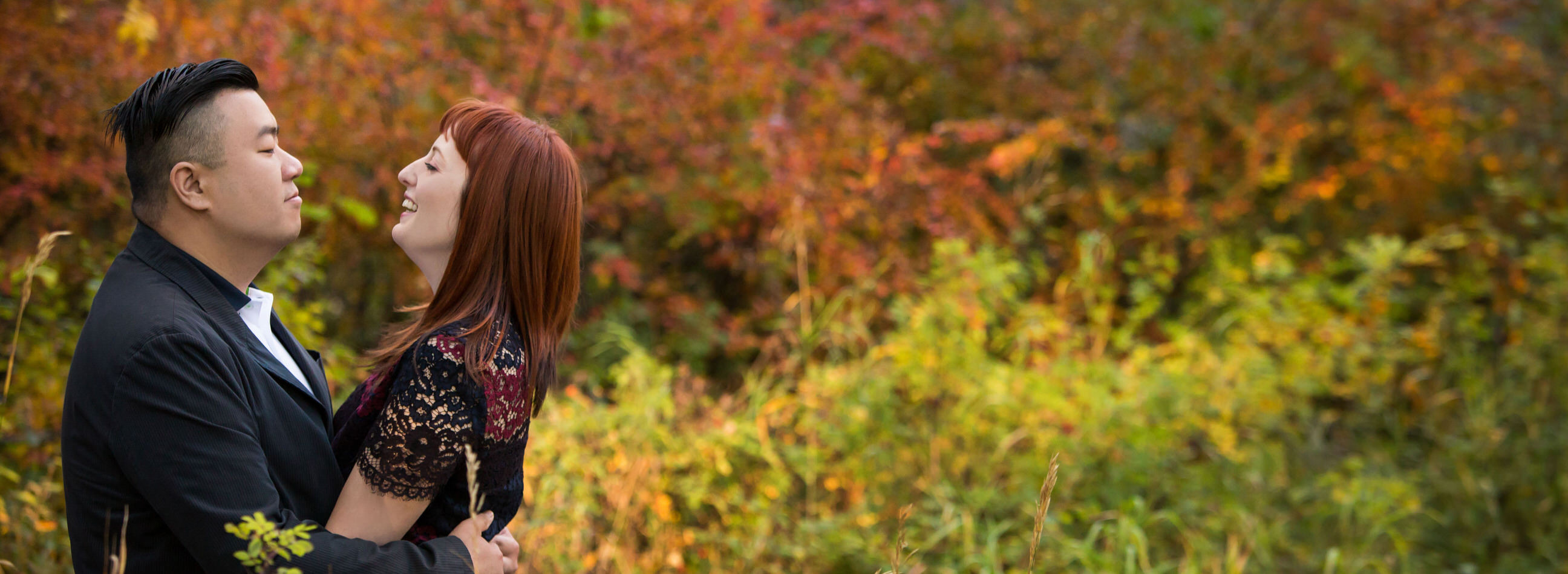 Brittany testimonial, engagement photo in autumn colors